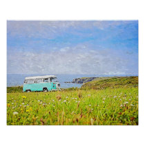 Blue van,Meadow art wall for decorate. Poster