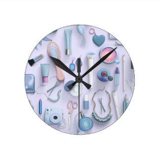 Blue Vanity Table Round Clock