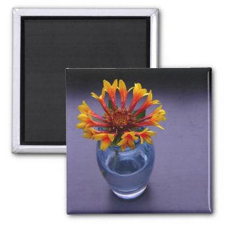 Blue Vase Floral 2 Inch Square Magnet