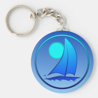 Blue Vector Sailboat Keychains