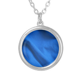 Blue velvet design silver plated necklace