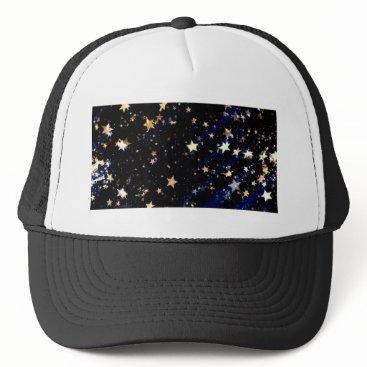 Halloween Themed Blue Velvet Effect Stars Trucker Hat