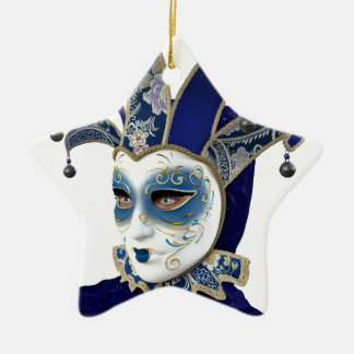 Blue Venetian Carnivale Mask in Profile Ceramic Ornament