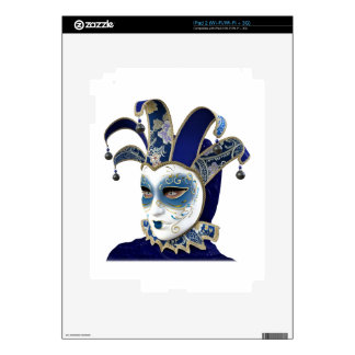 Blue Venetian Carnivale Mask in Profile Decal For iPad 2