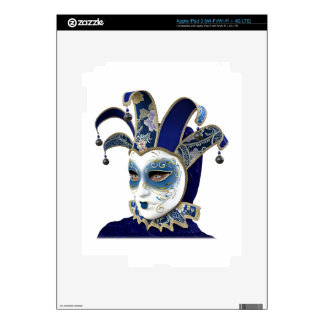 Blue Venetian Carnivale Mask in Profile Decals For iPad 3