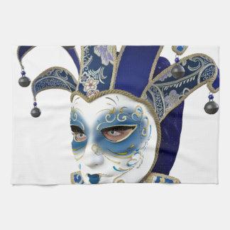 Blue Venetian Carnivale Mask in Profile Kitchen Towel