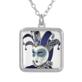 Blue Venetian Carnivale Mask in Profile Silver Plated Necklace