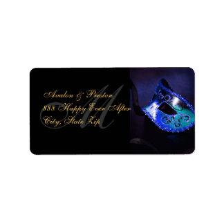 Blue Venetian Masquerade Mask Address Label
