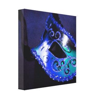 BLue Venetian Masquerade Mask Canvas Print
