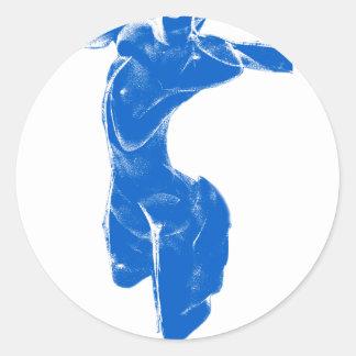 Blue Venus of Milo Classic Round Sticker