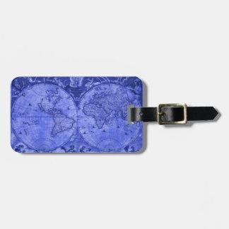 Blue Version Antique World Map J Blaeu 1664 Bag Tag