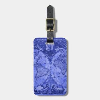 Blue Version Antique World Map J Blaeu 1664 Luggage Tag