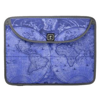 Blue Version Antique World Map J Blaeu 1664 Sleeves For MacBook Pro