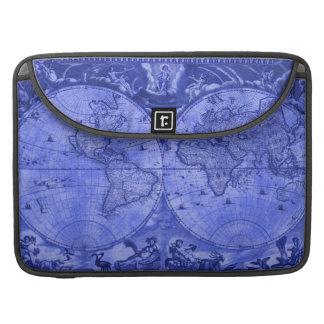Blue Version Antique World Map J Blaeu 1664 Sleeve For MacBooks