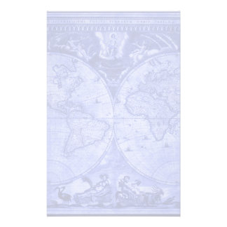 Blue Version Antique World Map J Blaeu 1664 Stationery