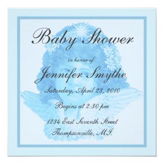 "Blue Victorian Angel Baby Shower Invitation 5.25"" Square Invitation Card"