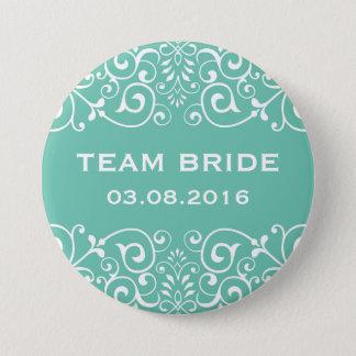 Blue Victorian Floral Border Team Bride Button