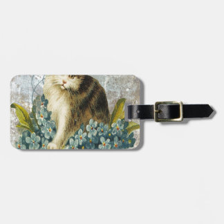 Blue Victorian Flowers Cat Kitten In Basket Tags For Bags