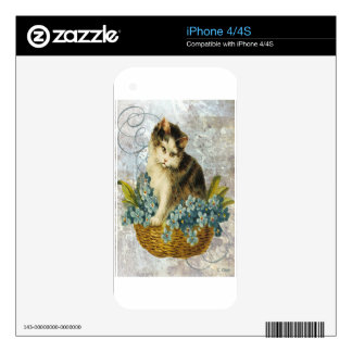 Blue Victorian Flowers Cat Kitten In Basket Skins For iPhone 4