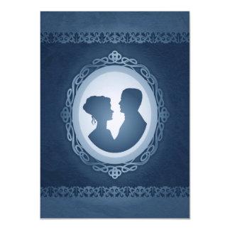 "Blue Victorian Gothic Cameo Wedding Invitations 4.5"" X 6.25"" Invitation Card"