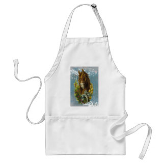 Blue Victorian Horse Shoe Floral Garland Adult Apron