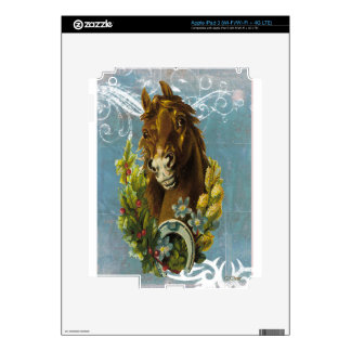 Blue Victorian Horse Shoe Floral Garland iPad 3 Decal