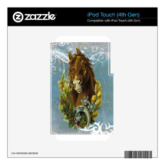 Blue Victorian Horse Shoe Floral Garland iPod Touch 4G Skins