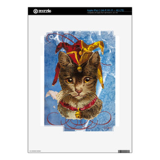 Blue Victorian Jester Hat Cat Decals For iPad 3