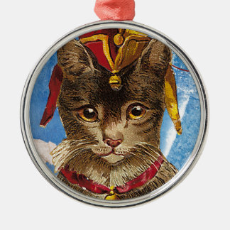 Blue Victorian Jester Hat Cat Round Metal Christmas Ornament