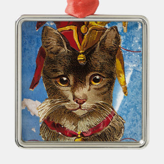 Blue Victorian Jester Hat Cat Square Metal Christmas Ornament