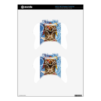 Blue Victorian Jester Hat Cat Xbox 360 Controller Skins