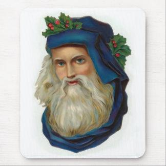 Blue Victorian Santa Mouse Pad