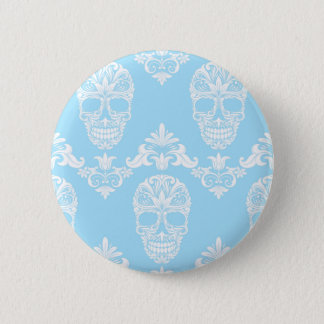 blue victorian skulls button