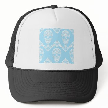 Halloween Themed blue victorian skulls trucker hat