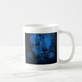 BLUE VICTORIAN STEAMPUNK LOVE COUPLE COFFEE MUG