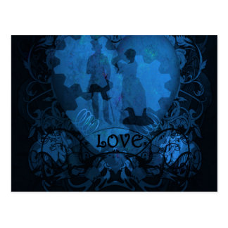 BLUE VICTORIAN STEAMPUNK LOVE COUPLE POSTCARD