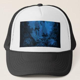 BLUE VICTORIAN STEAMPUNK LOVE COUPLE TRUCKER HAT