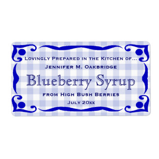 Blue Victorian Style Frame with Gingham Food Label
