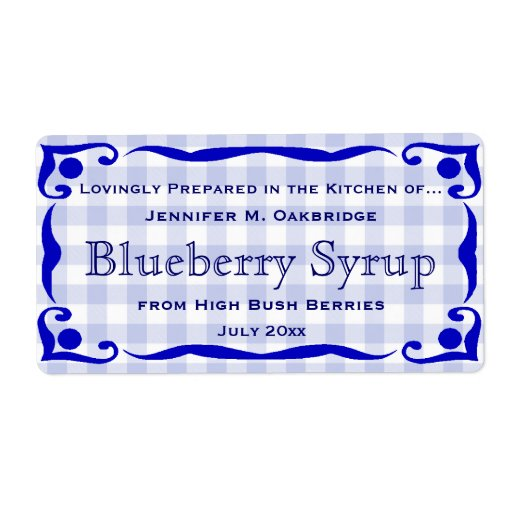 Blue Victorian Style Frame with Gingham Food Personalized Shipping Label