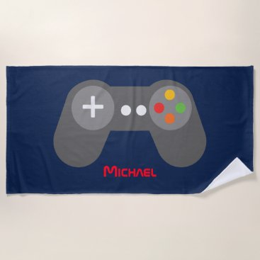 Beach Themed Blue Video Game Controller Beach Towel