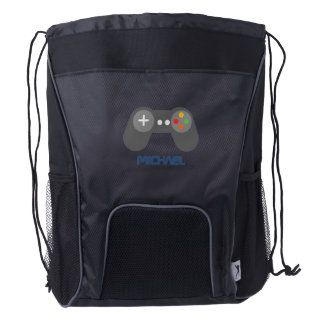 Blue Video Game Controller Drawstring Backpack