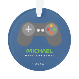 Blue Video Game Controller Kids Christmas Ornament