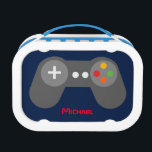 """Blue Video Game Controller Lunch Box<br><div class=""""desc"""">This fun lunch box features a cool vector illustration of a video game controller and can be personalized with your child&#39;s name,  monogram,  initial,  or any text of your choice for a perfect custom gift.</div>"""