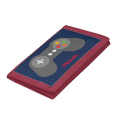 Blue Video Game Controller Trifold Wallet at Zazzle