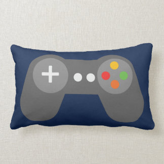 Blue Video Games Controller Lumbar Pillow