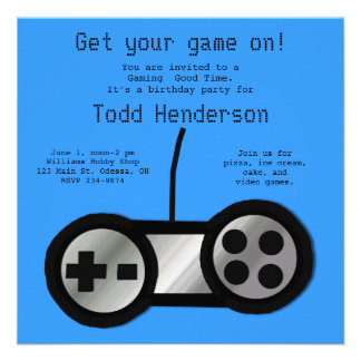 Blue Video Gaming Party Invitation
