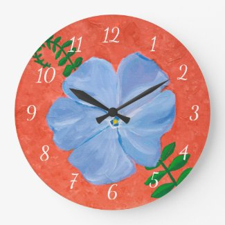 Blue Vinca Vine Flower Painting on Terra Cotta Large Clock
