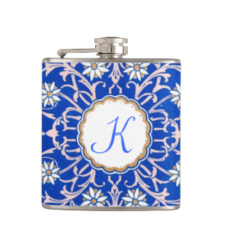 Blue Vine Flower Monogram Flaski Hip Flask