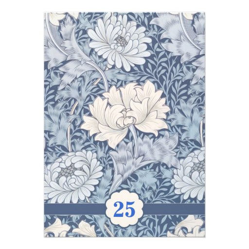 blue vintage 25th wedding anniversary invitations