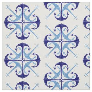 Blue vintage anchor nautical boy's room fabric